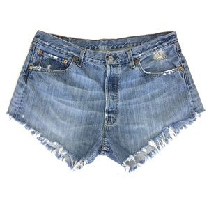 Levi's Cut Off Button Fly Shorts Denim